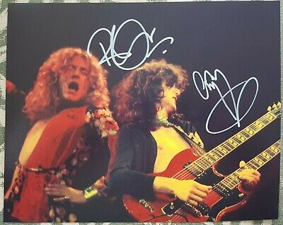 Led Zeppelin Robert Plant Jimmy Page org Hand Signed Autographed Photo COA