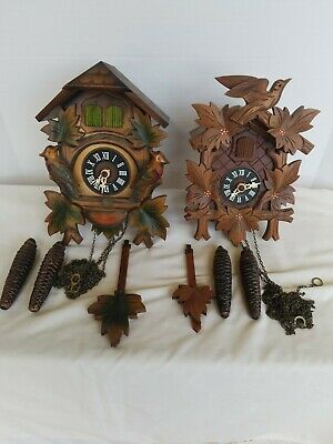 Vintage Hubert Herr 2 Cuckoo Clock Birds Leaves W/ Flowers Parts Only