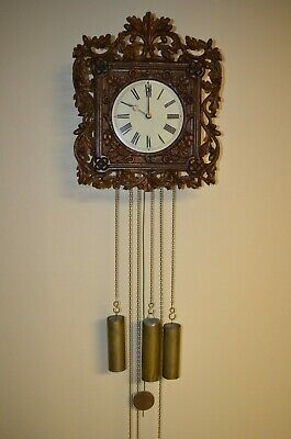 Antique German Black Forest 8 Day Petite Sonnerie Wooden Movement Wall Clock