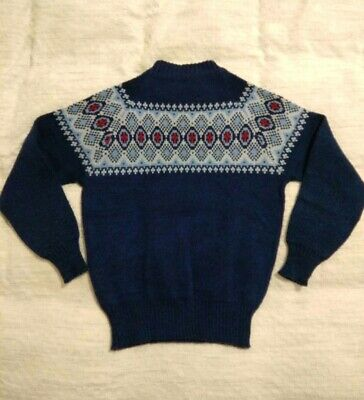 Vintage Jumper with Adorable High Neck, Hand Knitted, Wool, Size Small