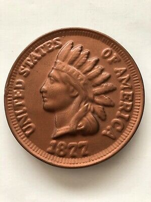 Vintage 1877 INDIAN HEAD PENNY / CENT Ceramic Plate Handmade In 1970 Rare -Decor