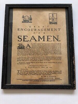 GREAT ENCOURAGEMENT FOR SEAMEN. Rare Old Print Advertisement Frame Portsmouth NH