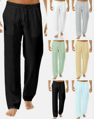 Men's Summer Drawstring Lightweight Pants Solid Cotton And Linen Loose Trousers
