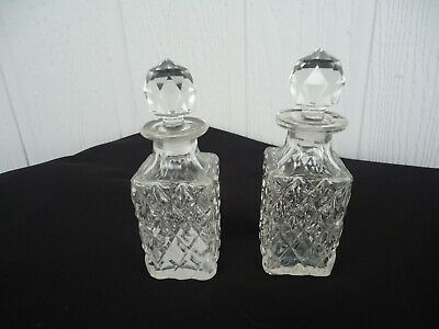 2 vintage antique cut glass condiment bottles cruet with crystal look stoppers
