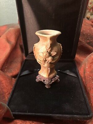 Hand Carved Multi Colored Chinese Soapstone Vase Vintage Piece