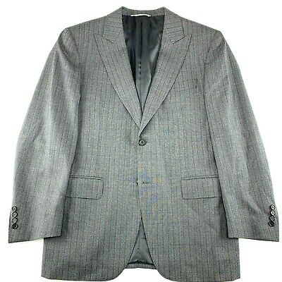 Canali Men Sport Coat Gray Grey Stripe 42S / 52C Large Wool Recent Blazer Italy