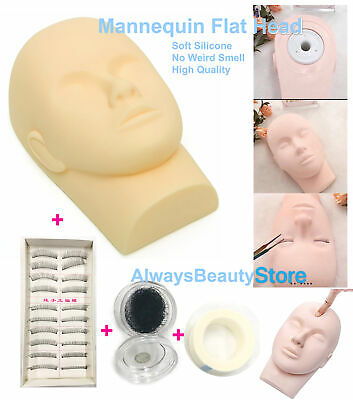 Mannequin Flat Head For Eyelash Practice Soft Head Silicone Model + Lashes Tapes