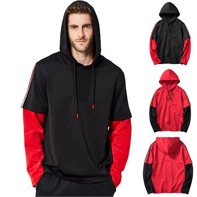 Mens Casual Outdoor Sport Hoodies Sweatshirt T-shit Soft Comfy Fitness Gym Tops