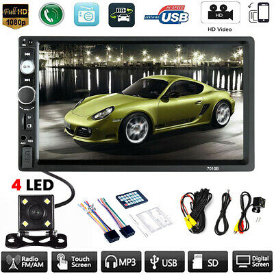 7inch HD 2 Din Touch Screen Car Stereo MP5 Player Radio Android IOS USB + Camera