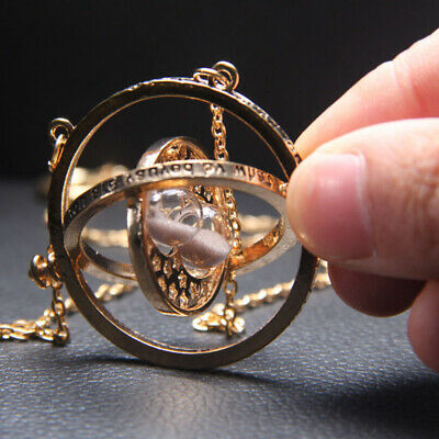 Nice Potter Time Turner Necklace Hermoine Granger Rotating Spins Hourglass