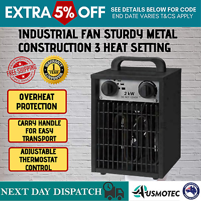 2000W Industrial Electric Heater Fan Floor Carpet Dryer Workshop Blower Warm Air