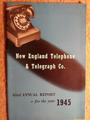 Vintage 1945 New England Telephone & Telegraph Co 63rd annual report