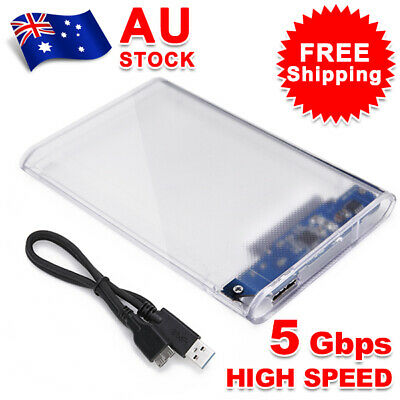 """2.5"""" SATA to USB 3.0 Transparent 5Gbps Hard Drive Enclosure Case HDD SSD"""