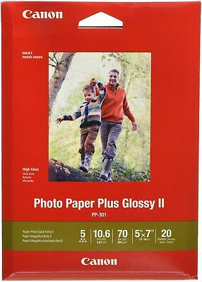 "CanonInk Inkjet Photo Paper Plus Glossy II 5"" x 7"" 20 Sheets Rich Colors NEW!..."