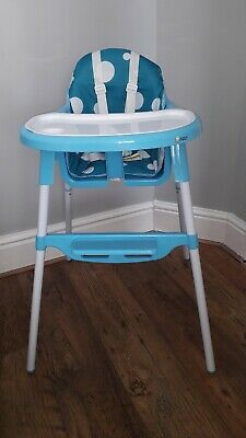 Kidzi 2 in 1 Baby High Low Chair Adjustable Footrest Removable Tray NEW