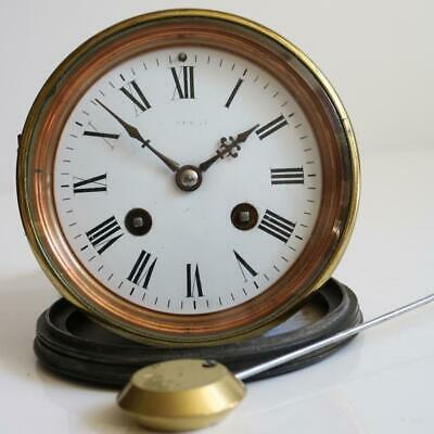 GOOD ANTIQUE FRENCH BELL STRIKE CLOCK MOVEMENT pendulum & backdoor MAPLE & Co.