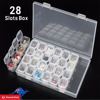 28 Slots Protable Pill Box Embroidery Accessories Case Geometric Holder Kit NEW