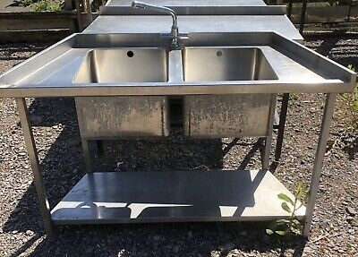 1.45M Long Stainless Steel Double Bowl Sink & Taps