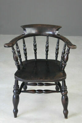 Smokers Bow Captain Spindle Back Beech Elm Office Study Chair
