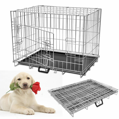 Metal Folding Pet Dog Puppy Cage Crate M L XL Training Carrier Transport Animal