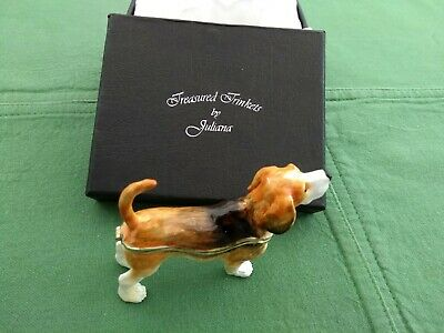 Juliana treasured trinkets Beagle Dog metal trinket boxed very good Check Pics