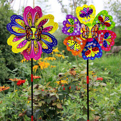 Butterfly Flower Windmill Colourful Wind Spinner Garden Yard Decor Kids Toy ^S