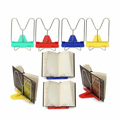 Portable Steel Book Reading Desk Stand Adjustable Angle Book Document Holder Red