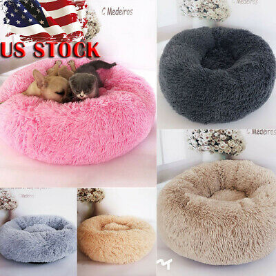 US Pet Dog Cat Calming Bed Warm Soft Plush Round Cute Nest Comfortable Sleeping
