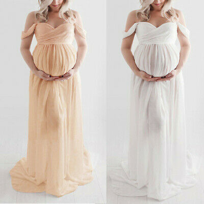 Women Maternity Pregnancy Long Dress Comfy Off Shoulder Photography Ruffled Sexy