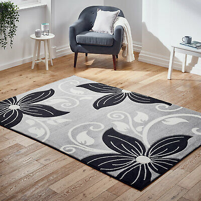Modern Rug New Floral Carved Grey Black Flower Thick Pile Rugs at Low Cost