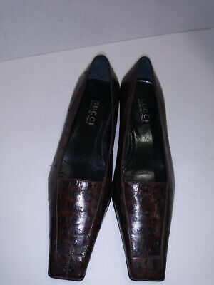 30cf2fd82 Gucci Women's Brown Leather loafers pumps Shoes Made in Italy Size 7B Eur 37