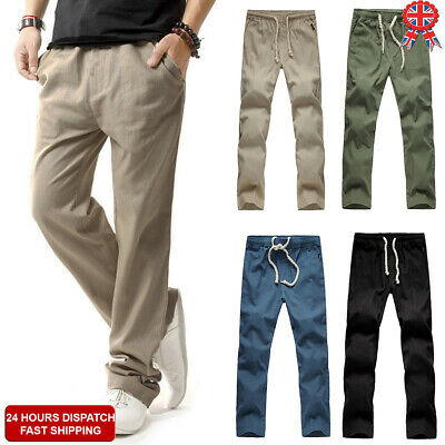 UK Men Cotton Linen Basic Pants Summer Plain Elasticated Waist Trousers Slacks X