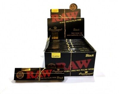 New RAW Black Connoisseur King Size Rolling Papers With Tips