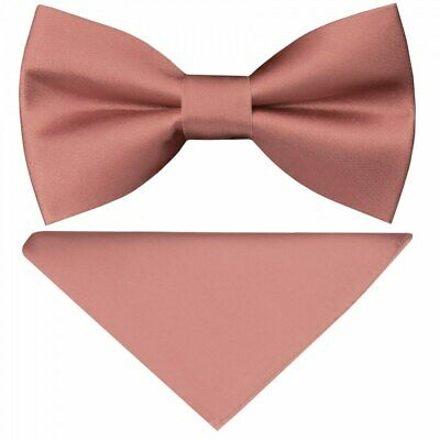 Pre Tied Rose Gold Satin Silk Boys Bow Tie and Pocket Square Set Childrens Bow