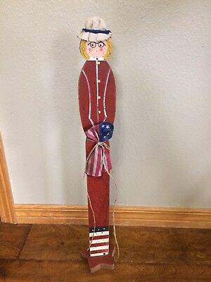 "26"" Betsy Ross God Bless America Red White Blue Wood Wooden SLIMS MADE IN USA"