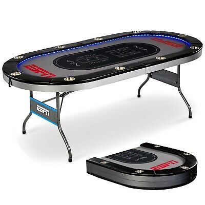 10 Player LED Lights Poker Table Premium Foldable Game Room Casino Playing ESPN
