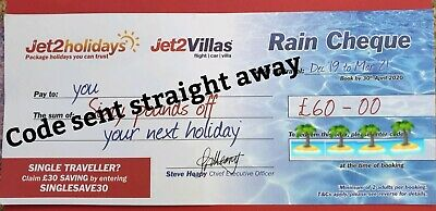 2 X Jet2 Holidays OCT 2020  £60 Rain Cheque voucher Exp DECEMBER 2019