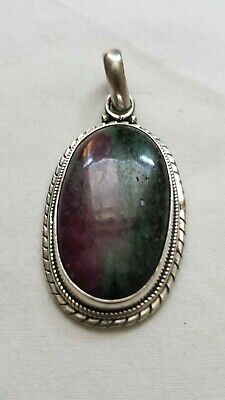 REDUCED Beautiful 925 Sterling Silver Plated Ruby Zoisite Pendant. Make Offer!