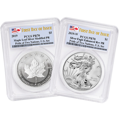 2019 Pride of Two Nations 2pc. Set U.S. Set PCGS PR70 FDOI Dual Flag Label