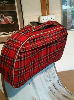 lambretta tartan legshield bag grey piping