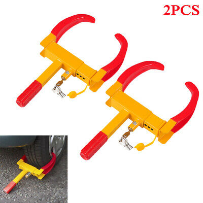 2x Heavy Duty Wheel Clamp Caravan Trailer Car Motorhome Security Lock With Keys