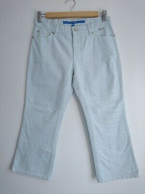 BNWT Ladies ESCADA Lisa Pale Blue Cropped Trousers Size 34 UK 8 New Capri Jeans