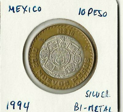 Mexico 10 Peso 1994 High Grade Bi-Metal Silver Coin