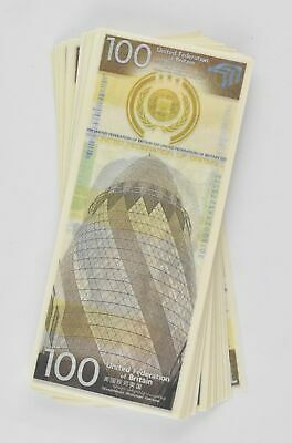 Total Recall: United Federation of Britain $100 Bill (Stack of 5 Bills)