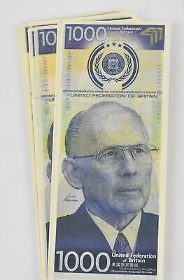 Total Recall: United Federation of Britain $1000 Bill (Stack of 5 Bills)