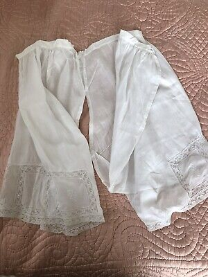 Vintage Edwardian / Victorian Linen And Lace With Embroidery Bloomers