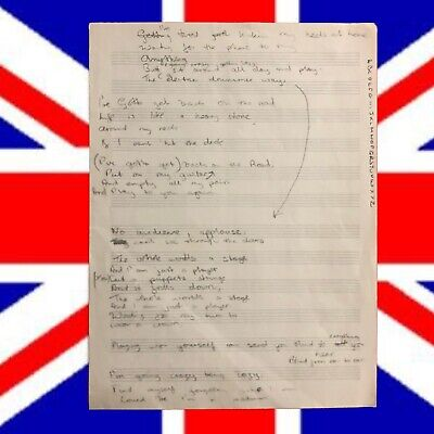 "The Who's John Entwistle Handwritten Lyrics for ""BACK ON THE ROAD"" with COA & CD"
