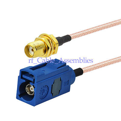 "Fakra Jack ""C"" to SMA Female Adapter Cable RG316 Pigtail 15cm for GPS Telematics"
