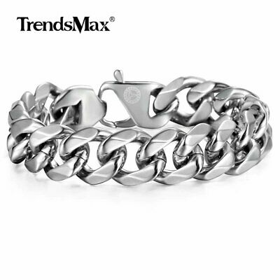 14.5mm Mens Cuban Curb Link Bracelet Silver 316L Stainless Steel Chain Jewelry