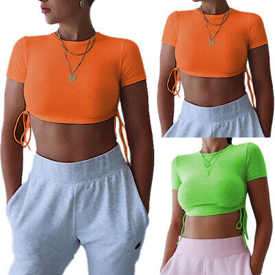 Women Summer Slim Fit Stretch Short Sleeve T-shirt Round Neck Exposed Navel Tops